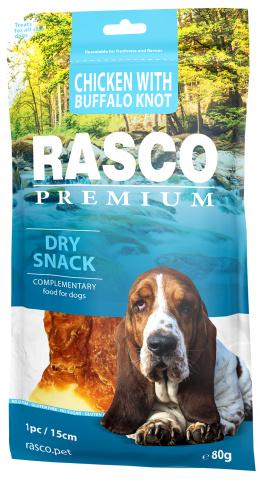Лакомство для собак - Rasco Premium Rawhide Chicken with Buffalo Knots 15 см, 80 г