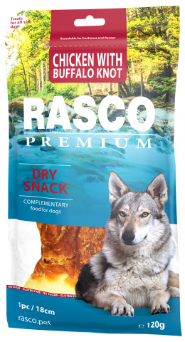 Лакомство для собак – Rasco Premium Rawhide Chicken with Buffalo Knots, 18 см, 120 г