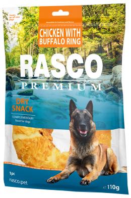 Gardums suņiem – Rasco Premium Rawhide Chicken with Buffalo Rings, 110 g