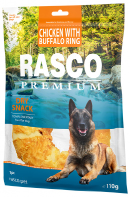 Лакомство для собак – Rasco Premium Rawhide Chicken with Buffalo Rings, 110 г