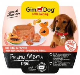 Konservi suņiem - GimDog Little Darling Fruity Menu Pate, ar liellopu un papaiju, 100 g