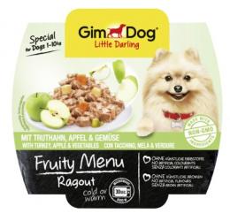 Konservi suņiem - GimDog Little Darling Fruity Menu Ragout, tītars, āboli, dārzeņi, 100g