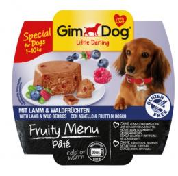 Konservi suņiem - GimDog Little Darling Fruity Menu Pate, ar jēru un meža ogām, 100g
