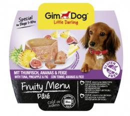 Konservi suņiem - GimDog Little Darling Fruity Menu, pastēte ar tunci, ananāsiem un vīģēm, 100g