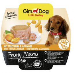 Konservi suņiem - GimDog Little Darling Fruity Menu Pate, tītars un aprikozes, 100 g
