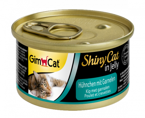 Konservi kaķiem - Gimpet ShinyCat Chicken and Shrimps, 70 g