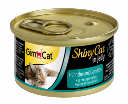 Konservi kaķiem - Gimpet ShinyCat Chicken and Shrimps, 70 g
