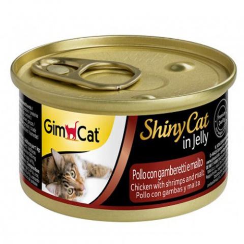 Консервы для кошек - GimCat ShinyCat Chicken, Shrimps and Malt, 70 г title=