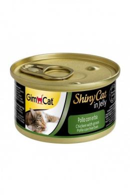 Konservi kaķiem - GimCat ShinyCat Chicken and Catgrass, 70 g