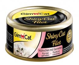 Консервы для кошек - GimCat ShinyCat Filet, с курицей и креветками, 70 г