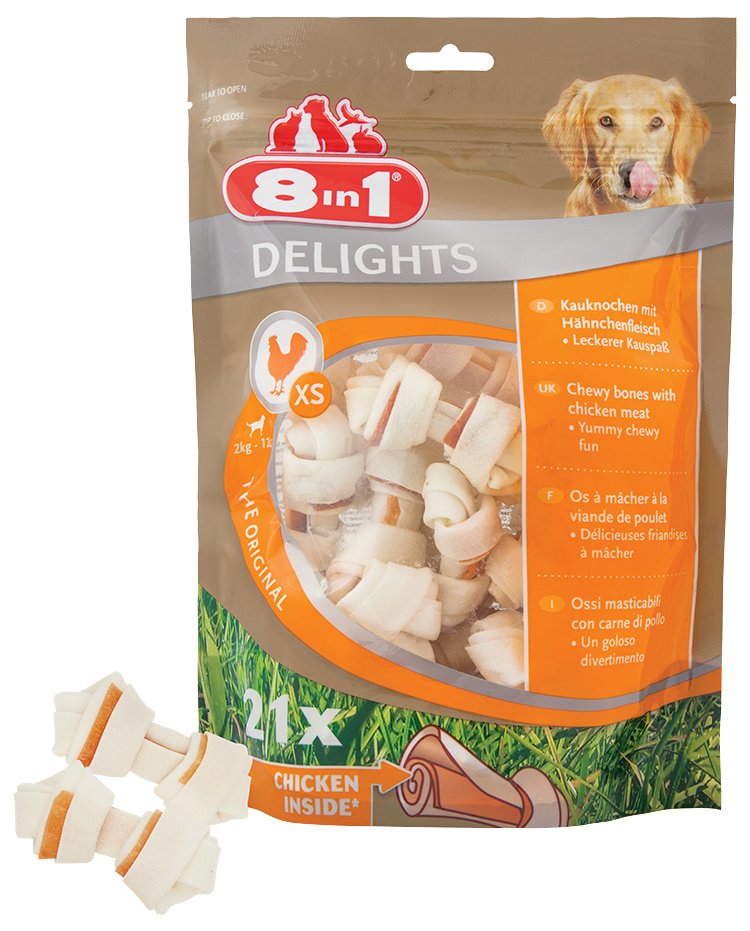 Gardums suņiem – 8in1 Delights bag XS, 21 gab.