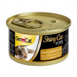 Konservi kaķiem - GimCat ShinyCat Tuna, Shrimps and Malt 70 g