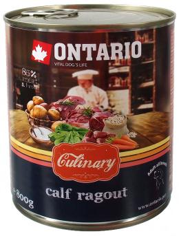 Konservi suņiem - Ontario Culinary Teļa Ragū ar Pīli, 800 g