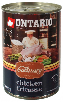 Konservi suņiem - Ontario Culinary Chicken Fricasse, 400 g