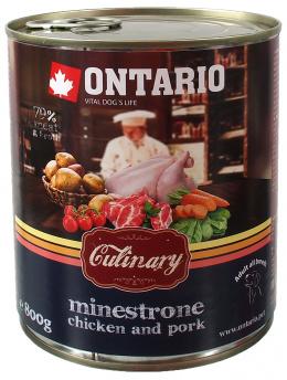 Konservi suņiem - Ontario Culinary Minestrone Vista un Cūkgaļa, 800 g