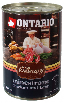 Консервы для собак - Ontario Culinary Minestrone Chicken and Lamb, 400 г