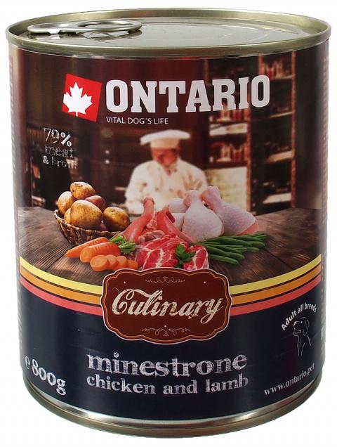 Консервы для собак - Ontario Culinary Minestrone Chicken and Lamb, 800 г title=