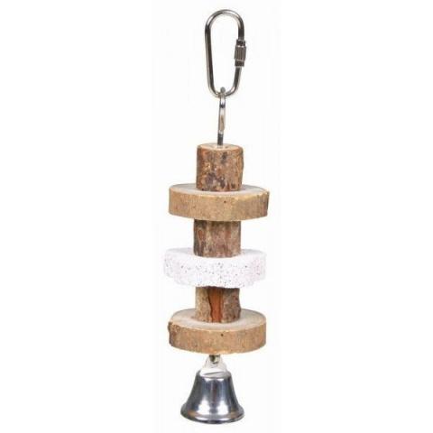 Игрушка для птиц - Trixie Gnawing wood with lava stone, 16 cм