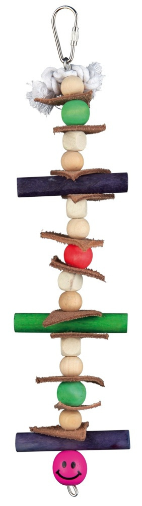 Rotaļlieta papagaiļiem - TRIXIE Wooden toy with leather and pearls, 28 cm