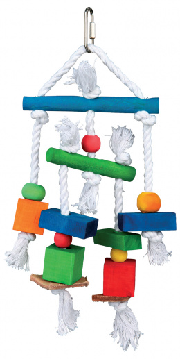 Игрушка для птиц - TRIXIE Wooden toy with leather and rope, 24 см