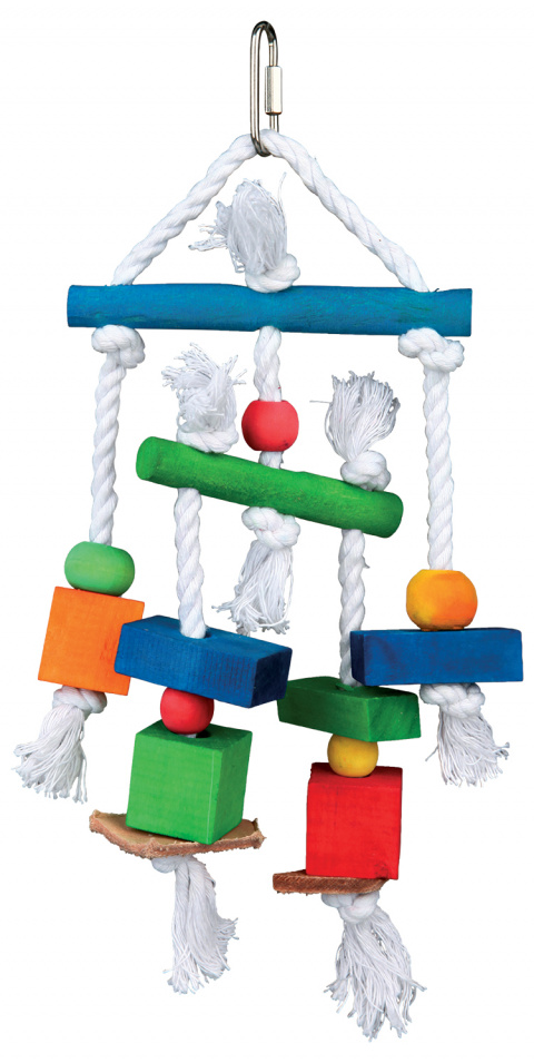 Rotaļlieta putniem - TRIXIE Wooden toy with leather and rope, 24 cm title=