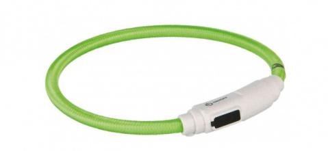 Atstarojošā kakla siksna kaķiem - USB Flash Light Ring, green, 35 cm