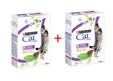 Barība kaķiem - Cat Chow Hairball Control, 400 + 400 gr
