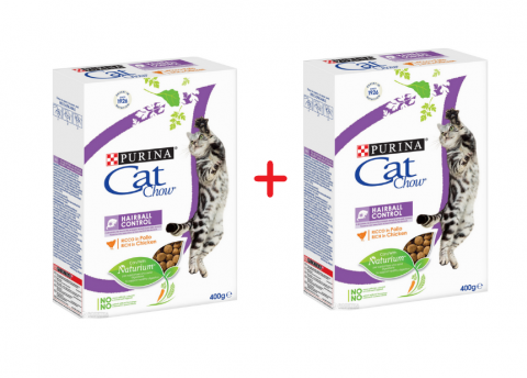 Корм для кошек - Cat Chow Hairball Control, 400 + 400 гр