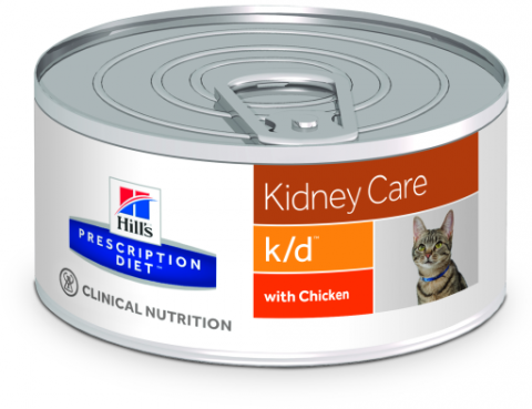 Veterinārie konservi kaķiem - Hill's Feline k/d Minced Chicken, 156 g title=