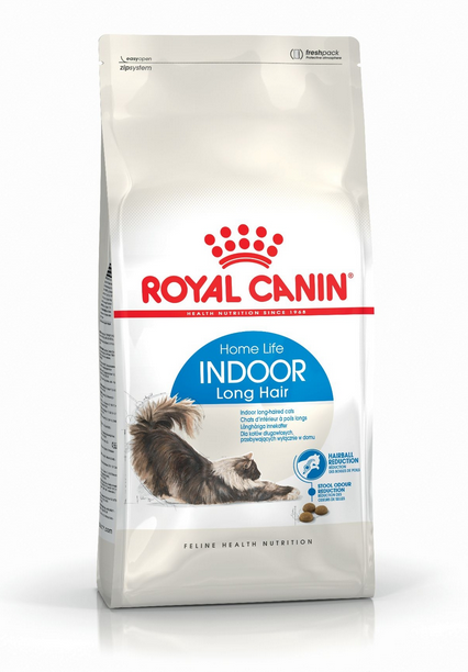 Корм для кошек - Royal Canin Feline Indoor Long Hair, 0,4 кг title=