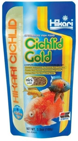 Barība zivīm - Hikari Sinking Cichlid Gold Mini Pellet, 100 g