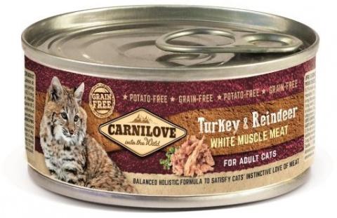 Konservi kaķiem - CARNILOVE Wild Meat Turkey and Reindeer, 100 g title=