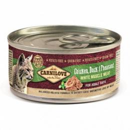 Konservi kaķiem - CARNILOVE Wild Meat Chicken, Duck & Pheasant, 100g