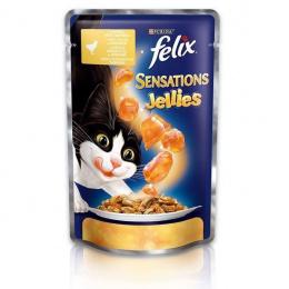Konservi kaķiem - Felix Sensations ar vistas gaļu un burkāniem želejā, 100 g