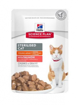 Konservi kaķiem - Hill's Feline Young adult sterilised cat salmon 85g