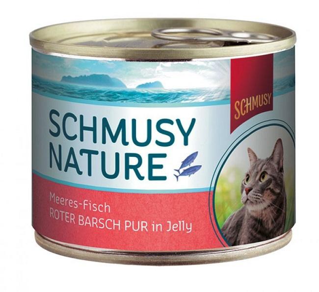 Konservi kaķiem - Schmusy Nature sarkanais asaris želejā, 185 g
