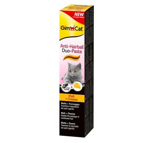Barības piedeva kaķiem - GimCat Anti-Hairball Duo-Paste, Cheese, 50 g