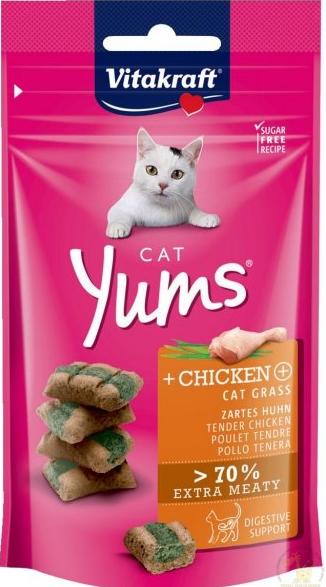 Gardums kaķiem – Vitakraft Cat Yums Chicken and Cat Grass, 40 g title=