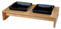Paliktnis ar bļodām – TRIXIE Bowl Set, Ceramic/Wood, 28 x 15 x 5 cm