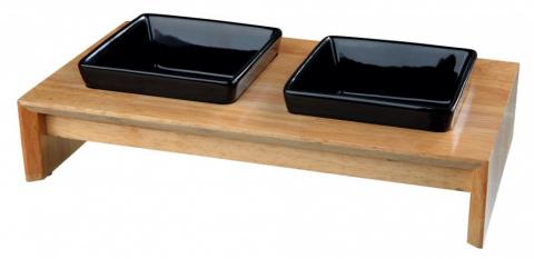 Paliktnis ar bļodām - Trixie Bowl Set, keramika/koks, 28*5*15 cm