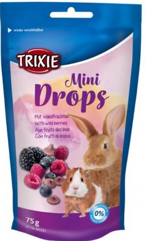 Gardums grauzējiem - TRIXIE Mini Drops, ar meža ogām, 75g