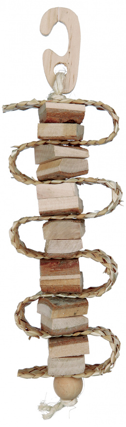 Rotaļlieta putniem - Trixie Natural Living toy with straw strip/bell, 21 cm
