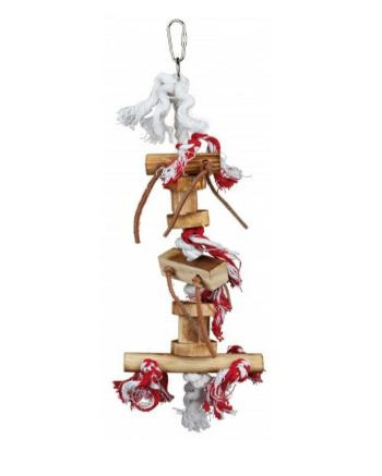 Rotaļlieta putniem - TRIXIE Wooden toy with leather ribbon, 35 cm