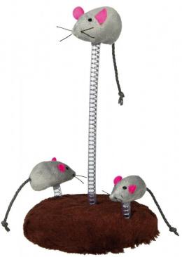 Игрушка для кошек - Trixie Mouse Family on Springs, 15 x 22 см