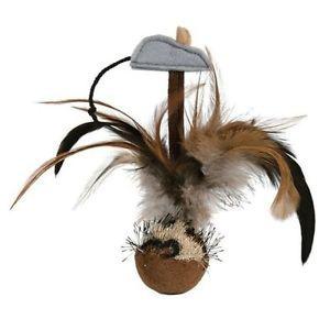 Игрушка для кошек - Trixie мячик со звуком, с перьями и мышкой.