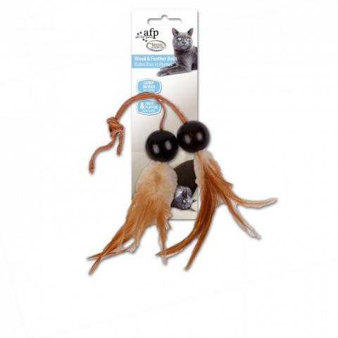 Игрушка для кошек - Classic Comfort Wood and Feather Balls (2 pack)