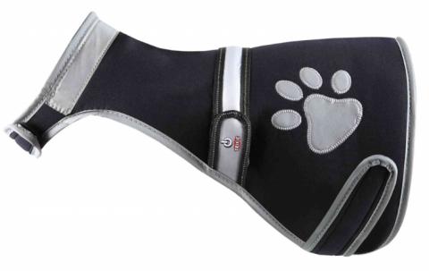 Atstarojoša veste suņiem – TRIXIE Flash safety vest USB, L: 60–80 cm, black title=