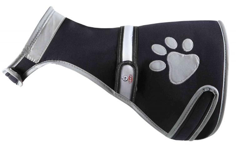 Atstarojoša veste suņiem – TRIXIE Flash safety vest USB, L: 60–80 cm, black