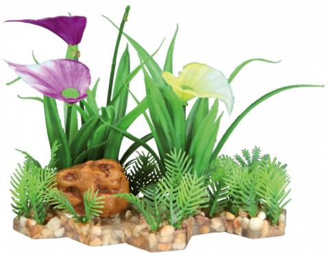 Декор для аквариумов - Trixie plant in gravel bed  / Пластиковое растение в основе из песка 18 cm