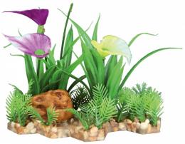 Декор для аквариумов - Trixie plant in gravel bed / Пластиковое растение в основе из песка 28 cm